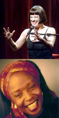 Top: Playwright Eve Ensler. Bottom: Storyteller Diane Ferlatte. Sources: Top: John OHara, SF Chronicle. Bottom: caverunstoryfest.org