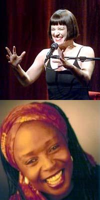 Top: Playwright Eve Ensler. Bottom: Storyteller Diane Ferlatte. Sources: Top: John OHara, SF Chronicle. Bottom: caverunstoryfest.org
