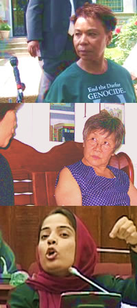 Top: Congresswoman Barbara Lee being arrested at the Sudanese embassy. Middle: Wu Qing talking to an official about birth control and adoption. Bottom: Malalai Joya speaking in Afghanistans parliament. Sources: http://Lee.House.gov , www.humanrights.cn , www.malalaijoya.com
