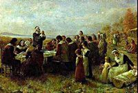 Painting of the Pilgrims first Thanksgiving.